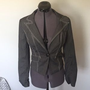 Gray One Button Fitted Blazer with Back Tie